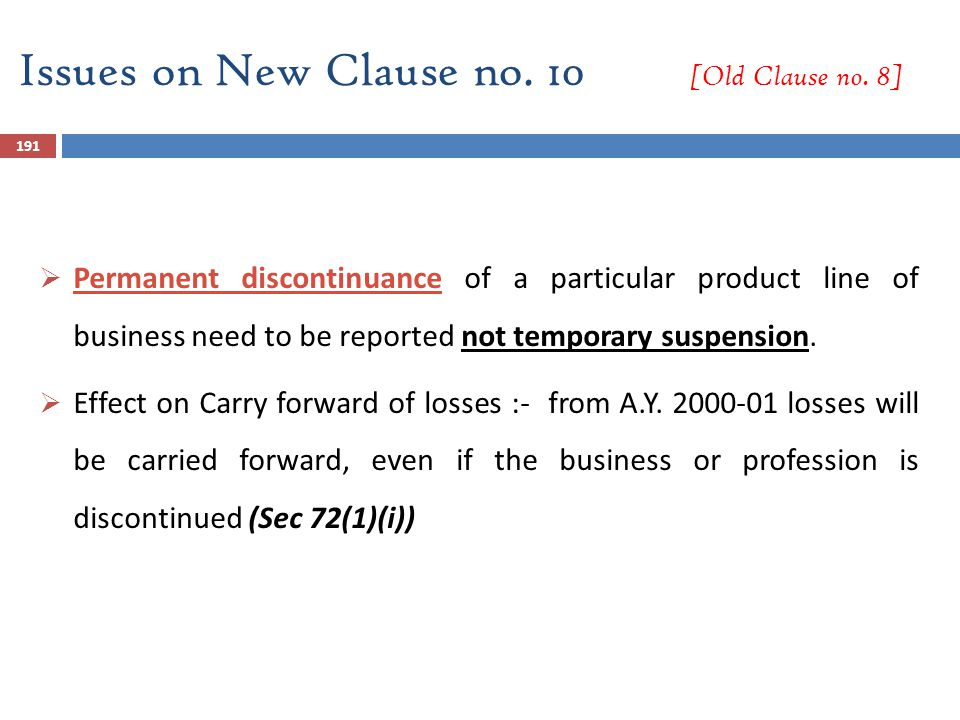 Issues on New Clause no. 10 [Old Clause no. 8]